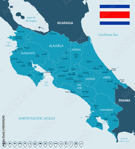 Detailed Costa Rica Map on