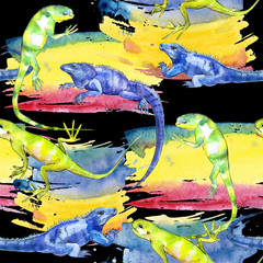 Exotic iguana pattern in a watercolor style. Full name of the reptilian: iguana. Aquarelle exotic reptilian for background, texture, wrapper pattern or tattoo.