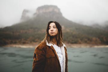 Woman near river