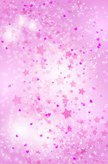 Abstract romantic pink background with flying stars and hearts