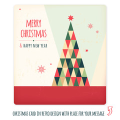 Christmas card in retro design with place for your text