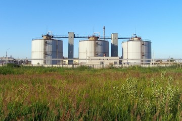 Methane storage tanks at a wastewater treatment facility, Yaroslavl, Russia