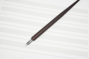 Music empty sheet with pen
