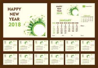 creative new year calendar 2018 template design using go green or eco friendly city concept