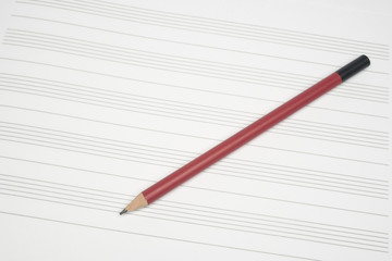 Music empty sheet with pencil