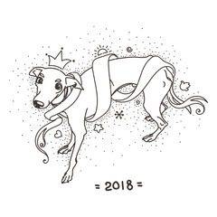 Yellow dog for New Year 2018, cute symbol of horoscope. Cute and pretty italian greyhound for holidays. Cute puppy in cartoon doodle style.