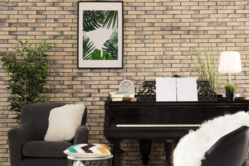 Grand piano in cozy home interior