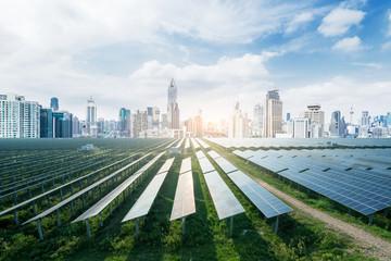 Urban background solar panels, Shanghai, China. Fotoväggar