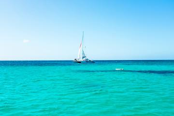 Wall Murals Caribbean Sailing on the Caribbean Sea at Aruba island