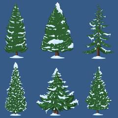 Vector Set of Winter Cartoon Pine Trees