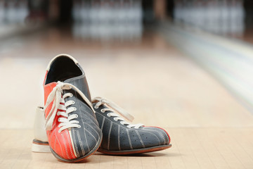 Shoes on floor in bowling club