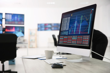Monitor with stock data on table in office