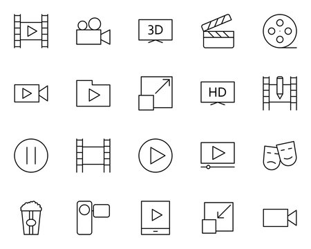 Video thin line icons set. Vector pictograms
