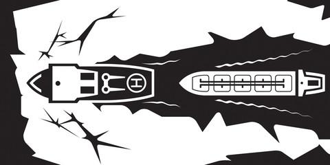 Icebreaker makes water  canal for tanker - vector illustration