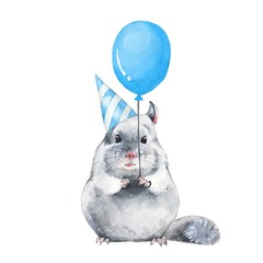 Chinchilla with balloon. Watercolor birthday card