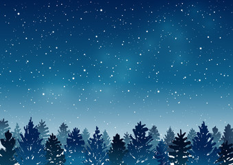 Night landscape with coniferous forest on starry sky background