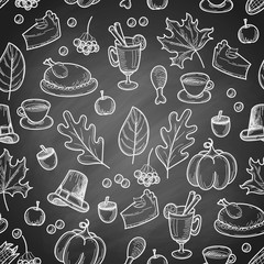 Thanksgiving season hand drawn doodle repeated pattern on black chalkboard background, sketch vector illustration.