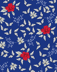 cute small floral pattern on navy background