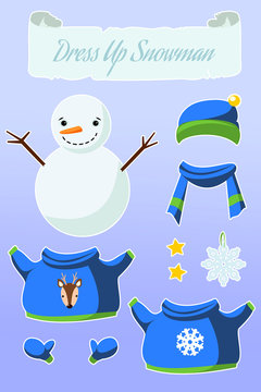 """Dress Up Game """"Snowman"""". Cute paper doll with winter outfits."""