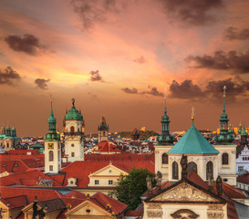 View of the roofs of old Prague during sunset. Europe, Czech republic.
