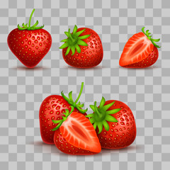 Vector realistic sweet and fresh strawberry isolated on transparent background