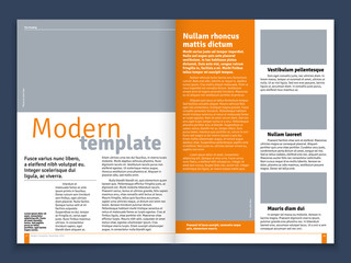 Modern magazine or newspaper vector layout with text modular construction and image places