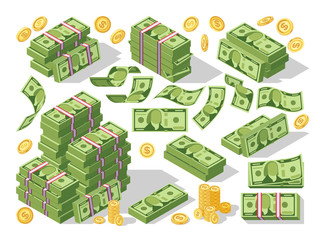 Various money bills dollar cash paper bank notes and gold coins vector set