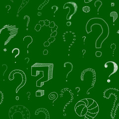 lots of question marks on green board, seamless pattern