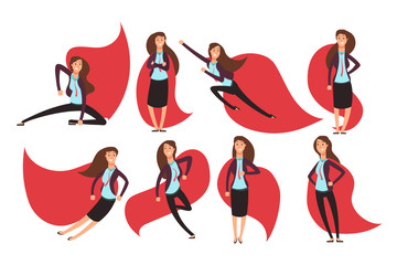 Cartoon businesswoman superhero in red cloak. Different actions and poses vector superheros character set