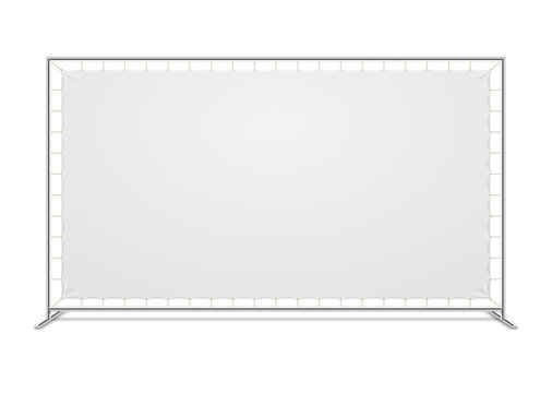 White blank advertising press wall with fabric banner vector template
