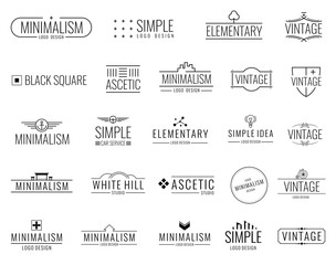Vintage minimal vector logos with simple shapes. Modern luxury emblems for shopping tag