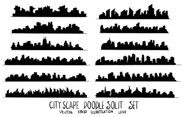 Set of City Solid illustration Hand drawn doodle Sketch line vector eps10