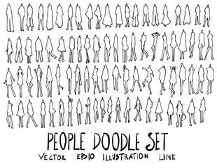 Set of people illustration Hand drawn doodle Sketch line vector eps10