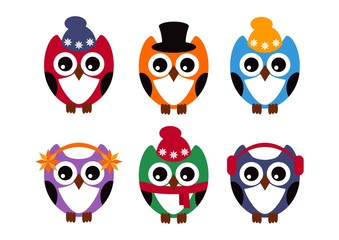 Cute owls set. Six owls on a white background. Vector illustration.