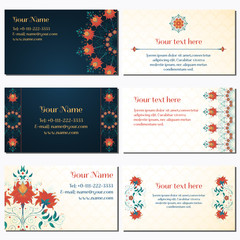 Set of six horizontal business cards. Beautiful floral pattern. Simple delicate ornament. Bright colors and dark background. Imitation watercolor gradients. Complied with the standard sizes.
