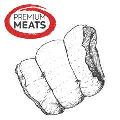 Pork hand drawn vector illustration. Meat product. Design sketch element.