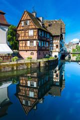 The Ill river in Petite France area in strasbourg