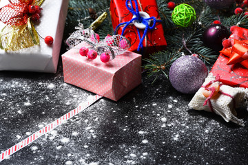 Holiday art and Xmas concept. Christmas decorations on dark background