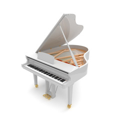 White glossy musical instrument - acoustic piano.