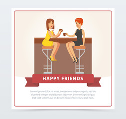 Two girlfriends drinking coffee n cafe, happy friends banner flat vector element for website or mobile app