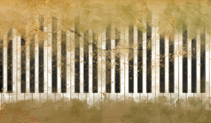 Piano Keys on the Grunge Background