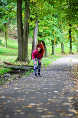 Healthy lifestyle young sporty woman running at park