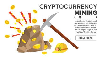 Rock With Gold Coins Vector. Bitcoin Cryptocurrency Concept. Mine, Pick, Helmet. Digging To Get Virtual Coins. Flat Cartoon Illustration