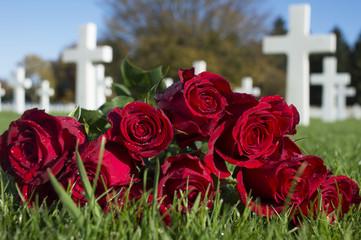 Türaufkleber Blumenhändler de Amerikaanse Begraafplaats en MonumentHenri-Chapelle