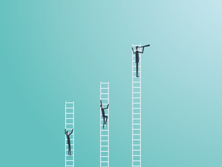 Business competition vector concept with three businessmen climbing on ladders and one winner. Symbol of business success, ambition, motivation.