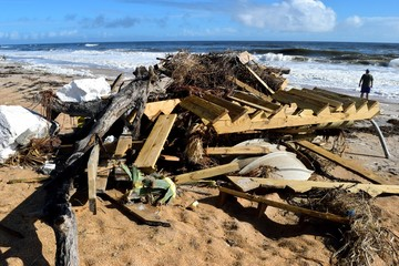 Debris on the beach after hurricane Irma hitting on the east coast of Florida on September 11, 2017