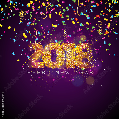 vector happy new year 2018 illustration on shiny lighting background with colorful confetti and typography design