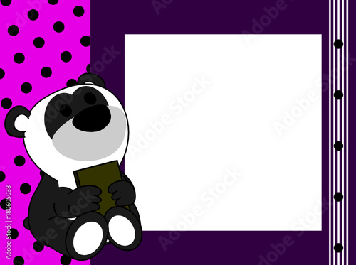 Cute Baby Panda Teddy Bear Book Picture Frame Background In Vector