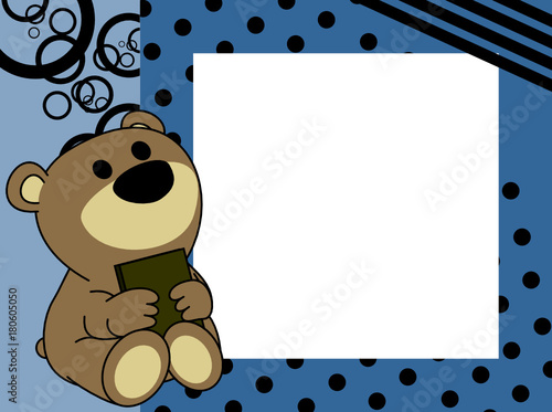 cute baby teddy bear book picture frame background in vector format ...
