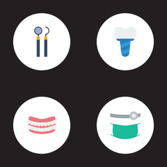 Flat Icons Equipment, Implantation, Artificial Teeth And Other Vector Elements. Set Of Dental Flat Icons Symbols Also Includes Dentist, Mirror, Artificial Objects.